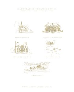 La Lettre Kalligrafie illustraties trouwlocaties Bruiloft uitnodigingen Kapel Staverden Landgoed Rhederoord Chateau Du Grand Val Tropezina Beach Amante Ibiza