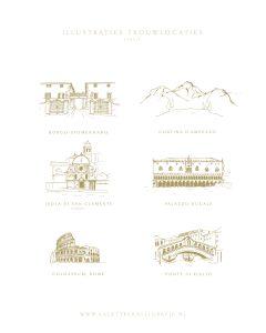 a Lettre Kalligrafie illustraties trouwlocaties Bruiloft uitnodigingen Borgo Stomennano Cortina D'ampezzo Isola Di San Clemente Venice Palazzo Ducale Colosseum Rome Ponte Di Rialto