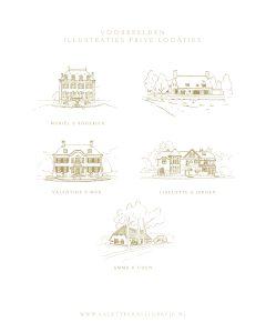 a Lettre Kalligrafie illustraties trouwlocaties Bruiloft uitnodigingen